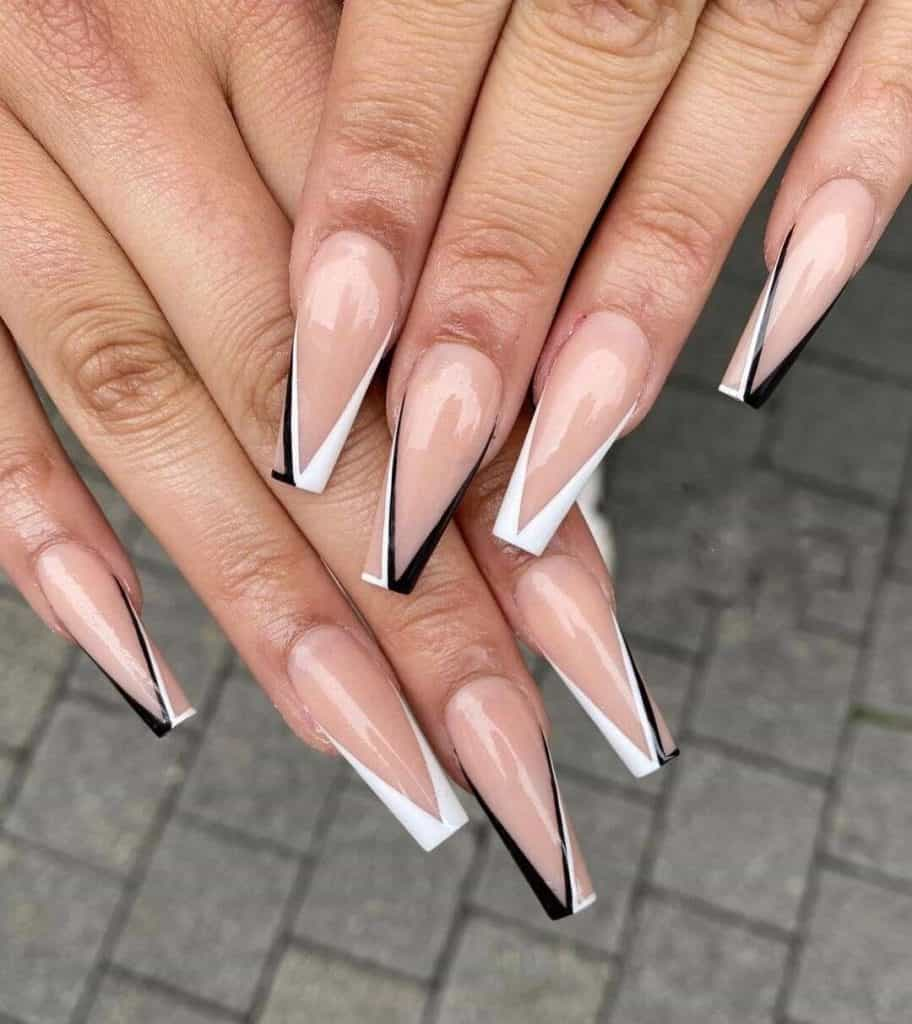 White and Black Striped Acrylic Nails