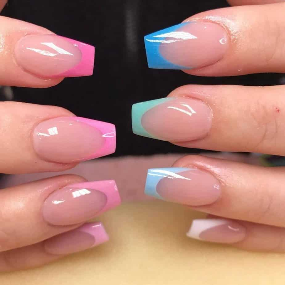 Pink and Blue Acrylic Nails